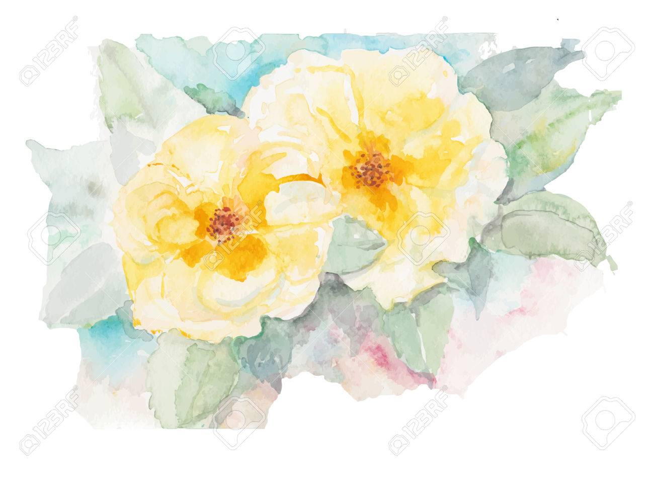 Yellow Rose Flower Watercolor Background Royalty Free Cliparts