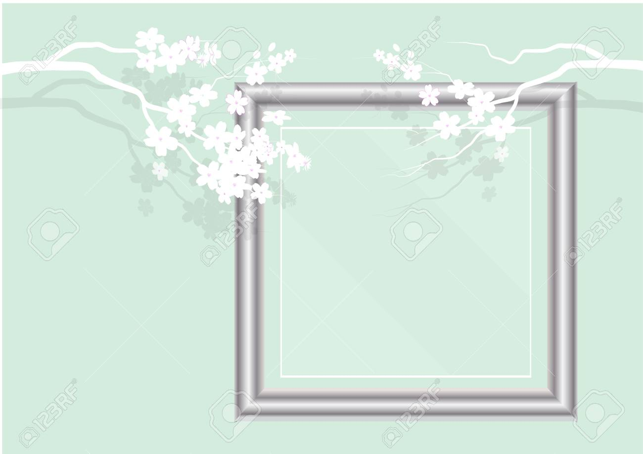 Frame Glass Frame With White Paper Cut Cherry Blossom Design