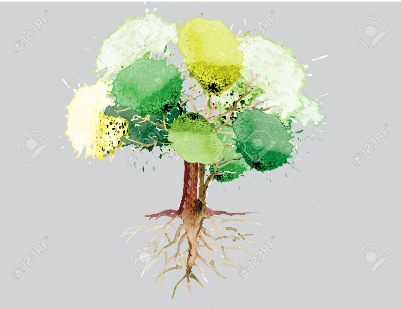 Green Tree With Roots Watercolor Design Vector Illustration Royalty Free Cliparts Vectors And Stock Illustration Image 49513660