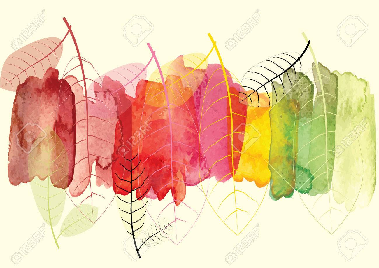 Watercolor abstract background season change concept - 49574895