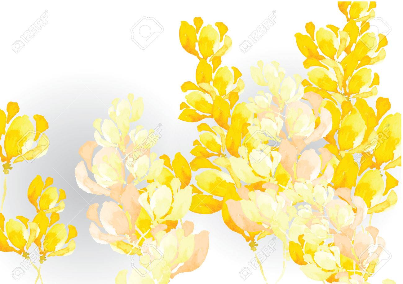 Abstract Yellow Tone Flower Background Watercolor Look Created