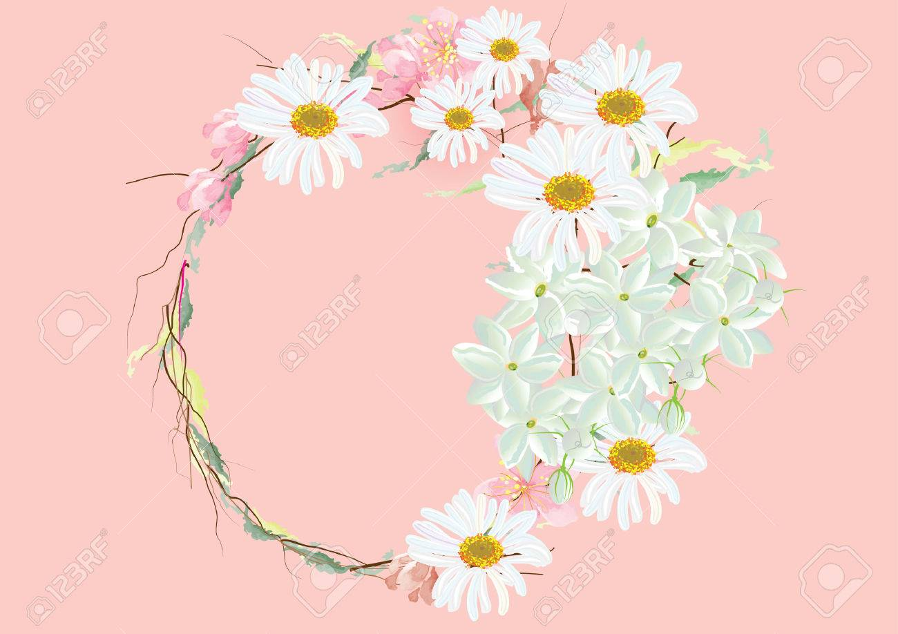 Border or frames flowers created cherry blossoms with white border or frames flowers created cherry blossoms with white daisy flowers border frames circle izmirmasajfo