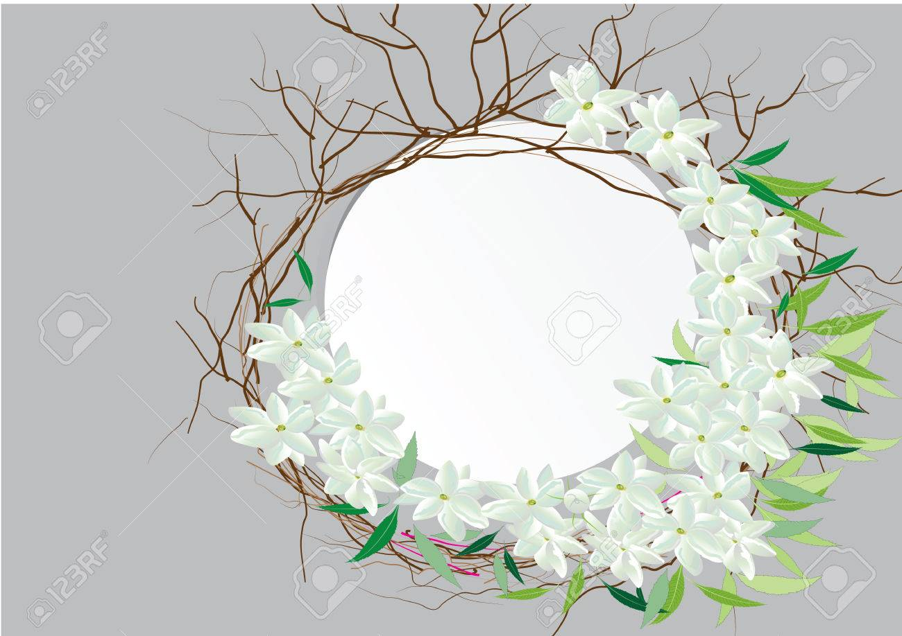 Template white paper circle shape cover outside with jasmine template white paper circle shape cover outside with jasmine flower own jasmine flowers with leaves izmirmasajfo