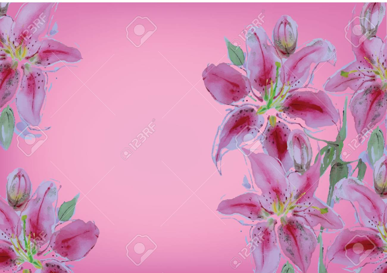 Lily flower hand drawn watercolor painting for background stock lily flower hand drawn watercolor painting for background stock photo 72091247 izmirmasajfo