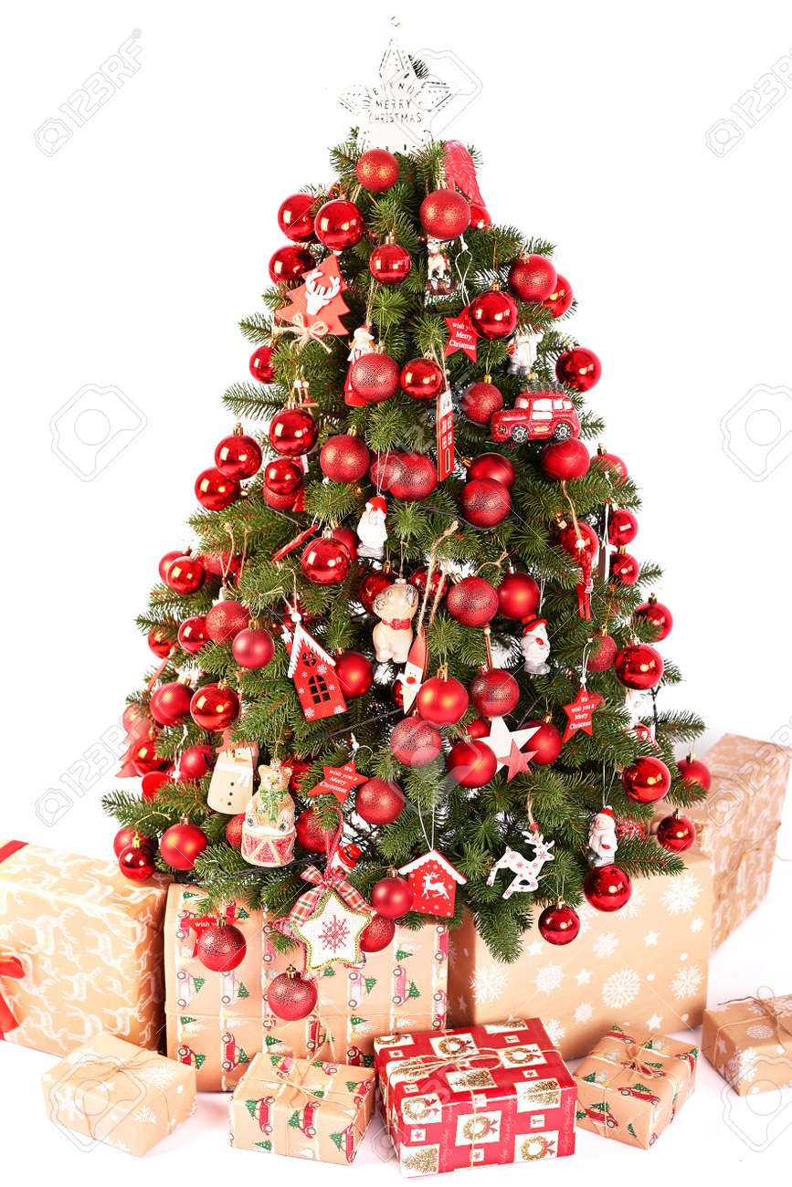Christmas Tree Decorations With Lights Background Happy New Stock Photo Picture And Royalty Free Image Image 156678094