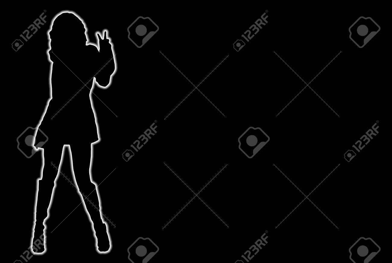 Glowing silhouette of a girl making peace sign with hand Stock Photo - 3222170