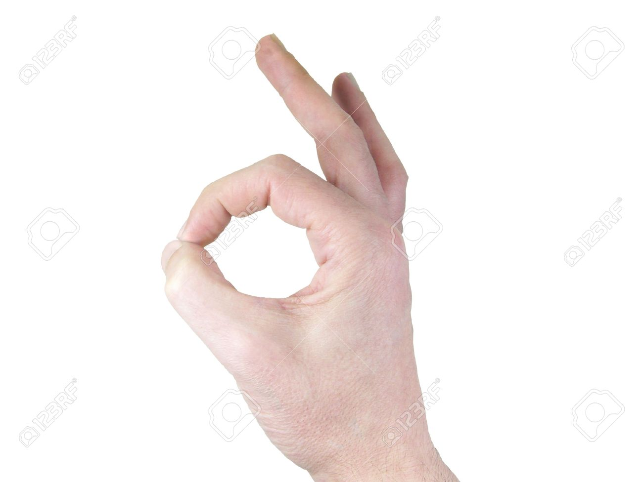 ok hand gesture isolated over white background stock photo picture