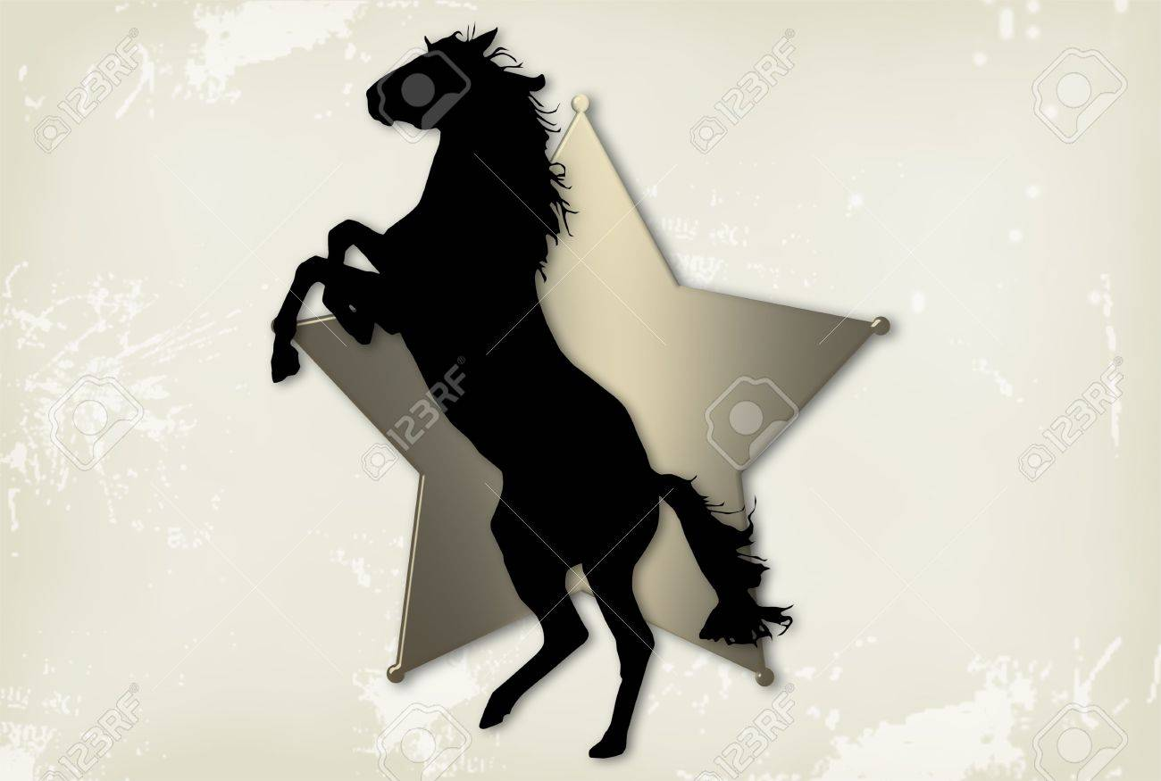 Grunge western background with horse and star Stock Photo - 4127107