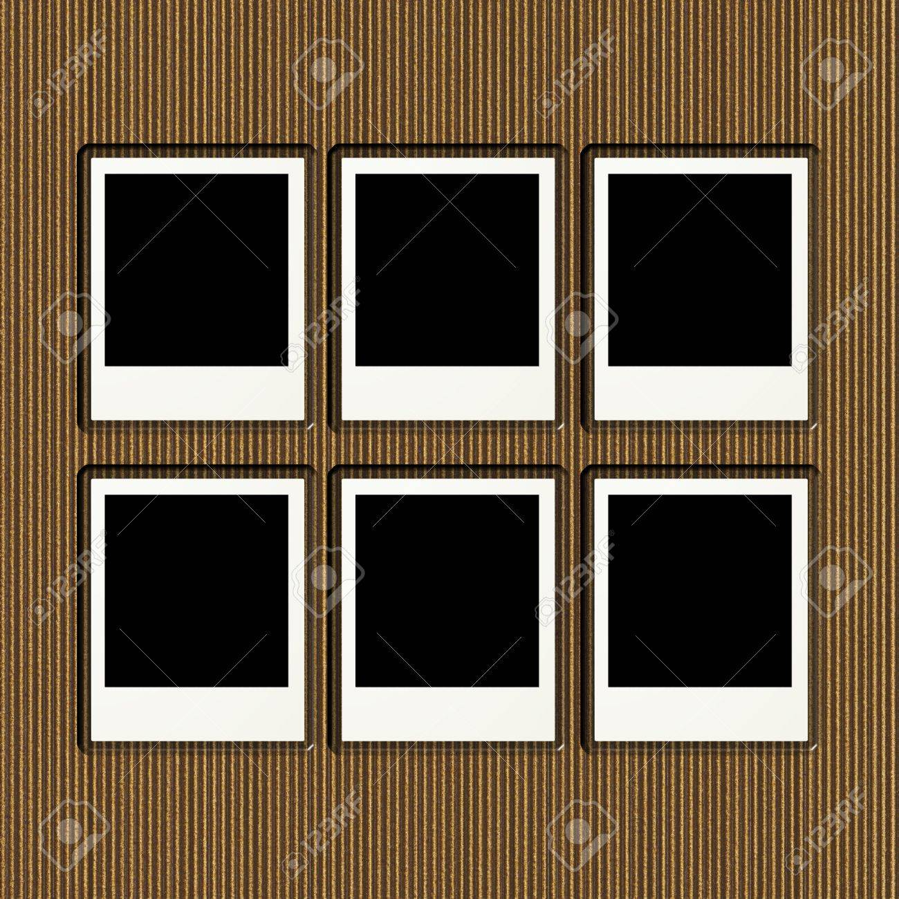 Cardboard Photo Album Page With Six Blank Frames Stock Photo ...