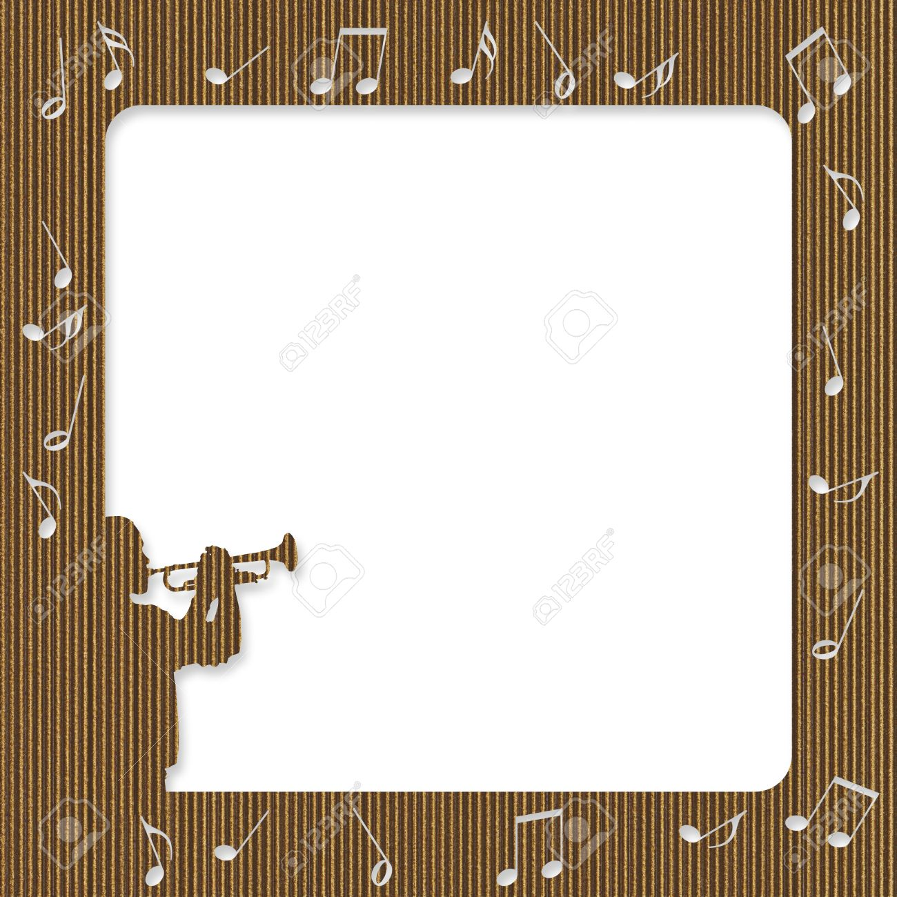 Cardboard Frame With Silhouette Of A Trumpet Player And Notes Stock ...