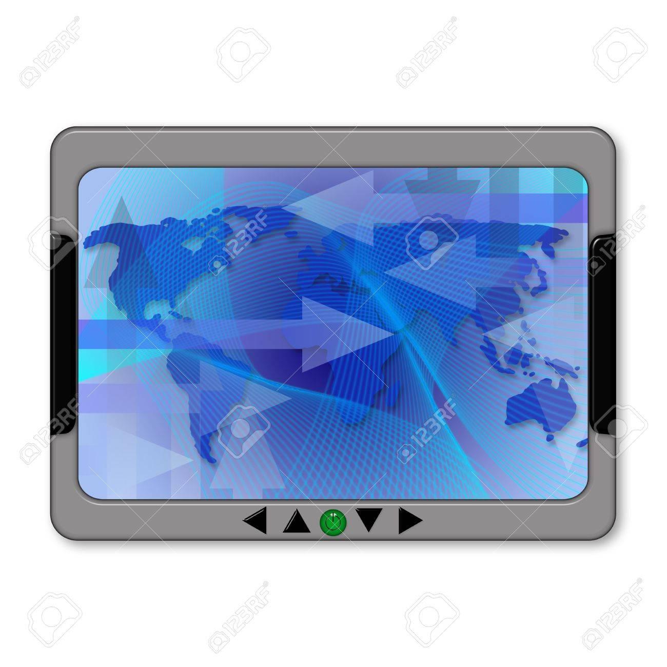Illustration of a gps navigator with world map Stock Illustration - 4337662