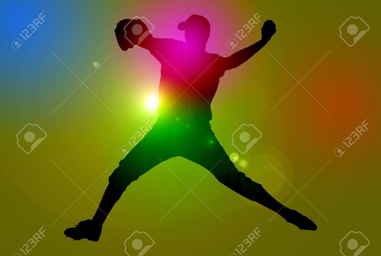 Silhouette of a baseball player over dark background with lens flare Stock Photo - 4944764