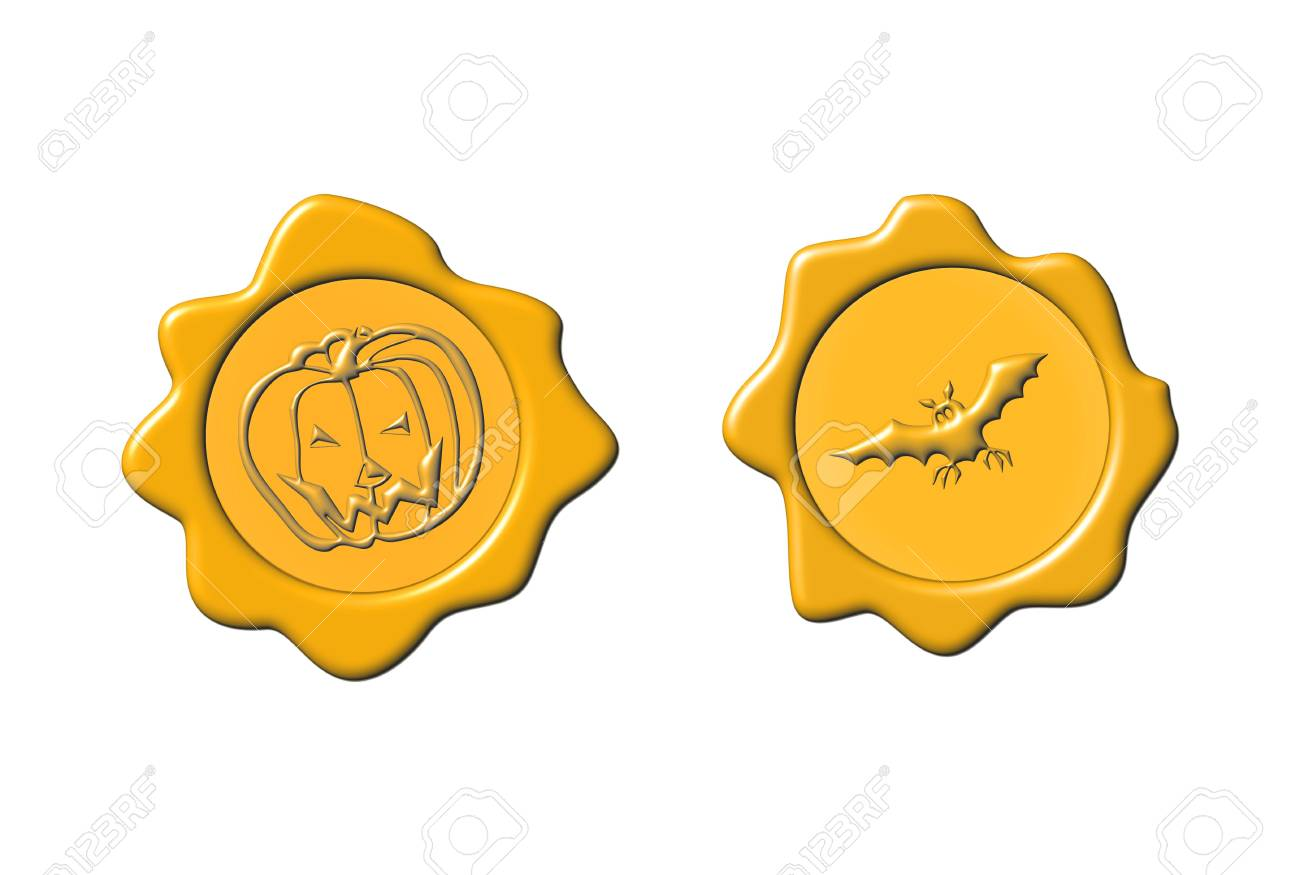Halloween seals with pumpkin and bat over white background Stock Photo - 5779273