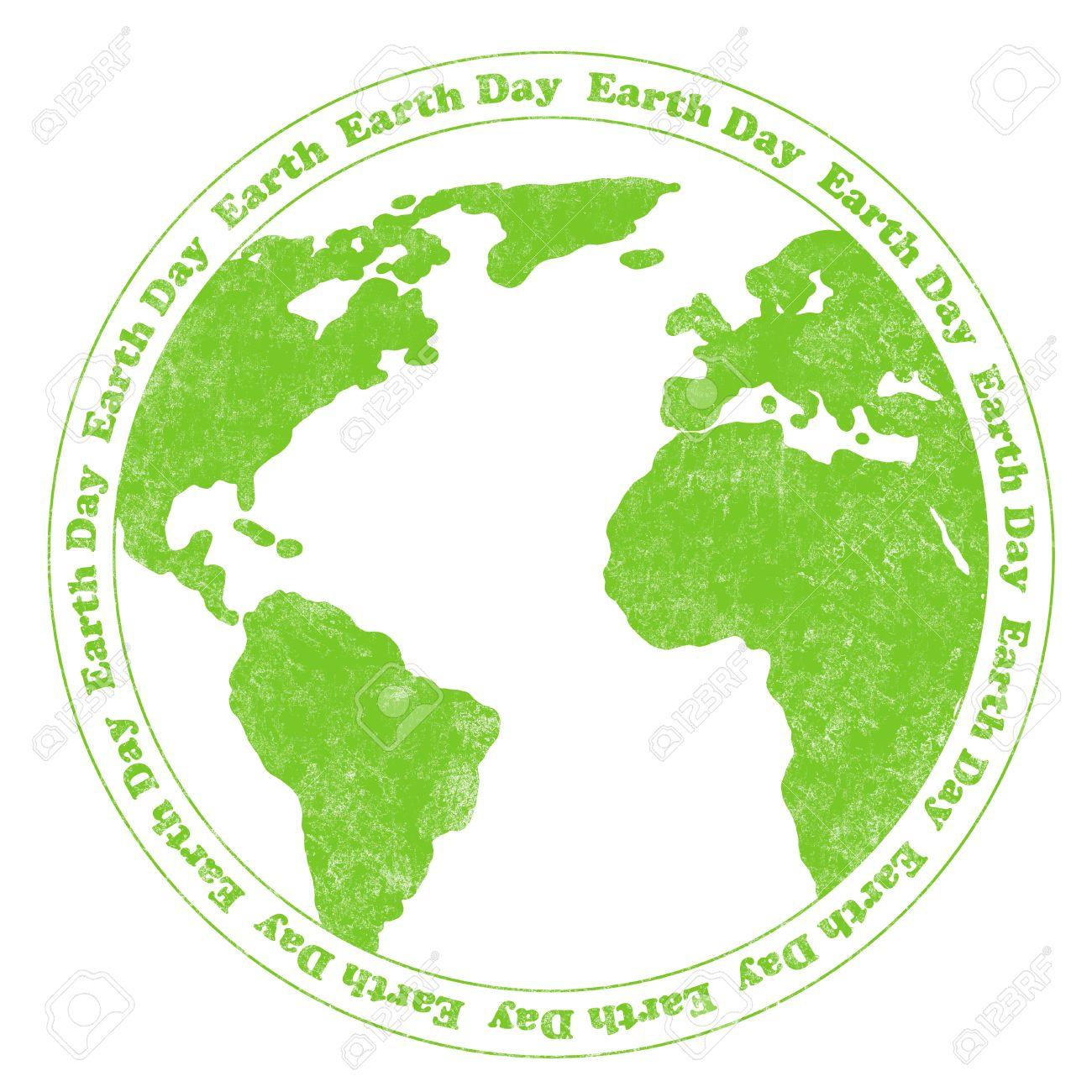 Rubber Stamp Illustration With World Map And Circular Earth Day