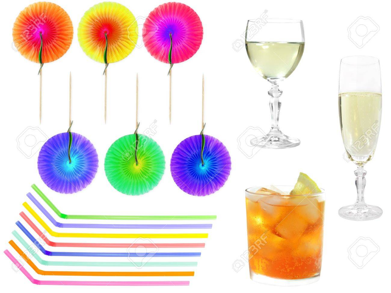 party set with cocktail wine champagne straws and decorations stock