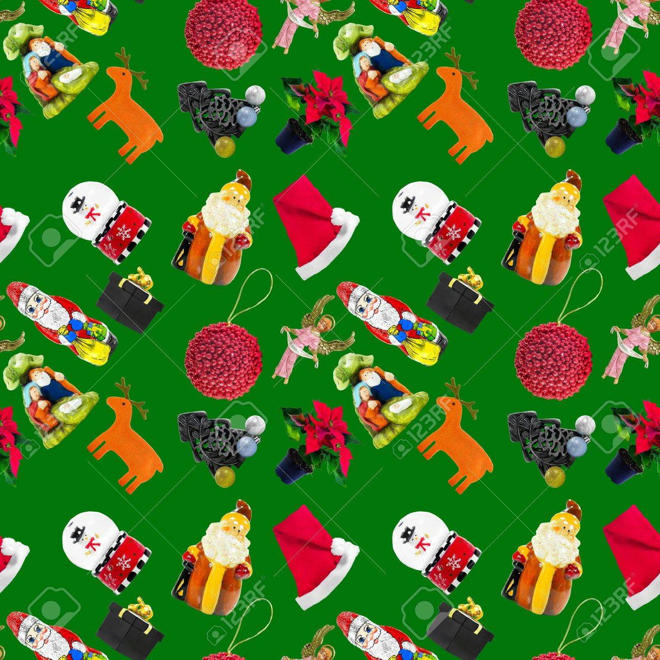 Seamless Pattern With Green Background And Christmas Themed Stuff ...