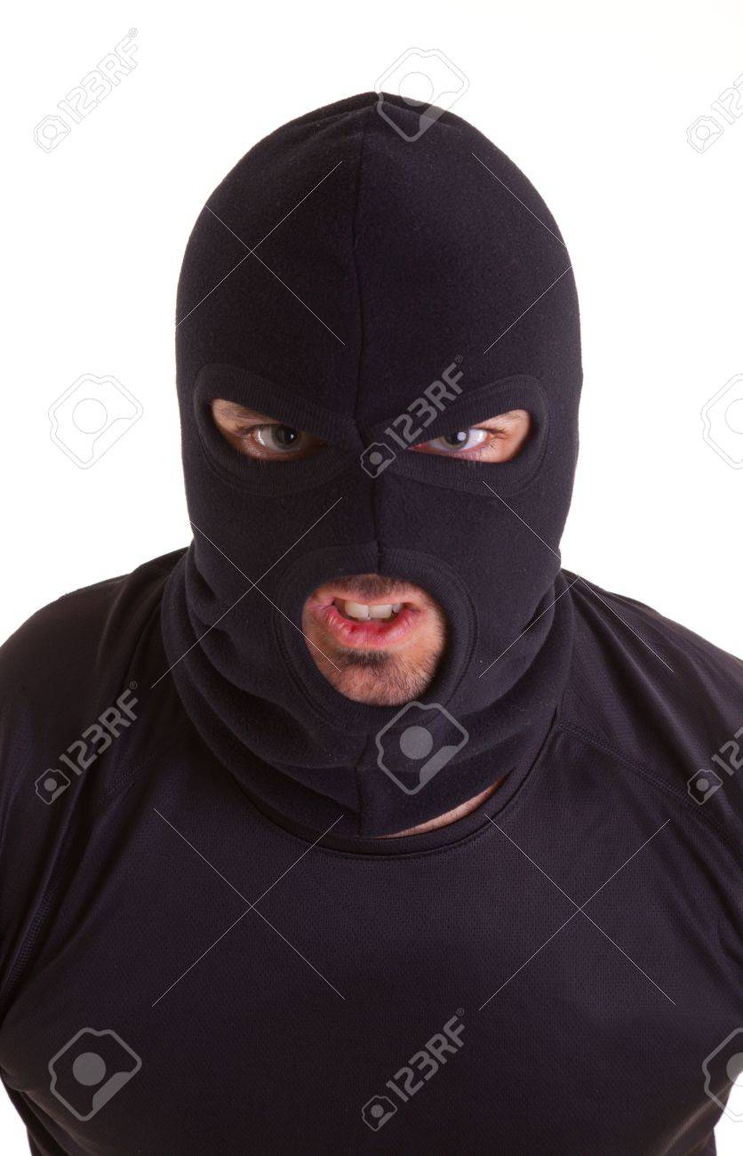 Man in a mask on white background Stock Photo - 18264736