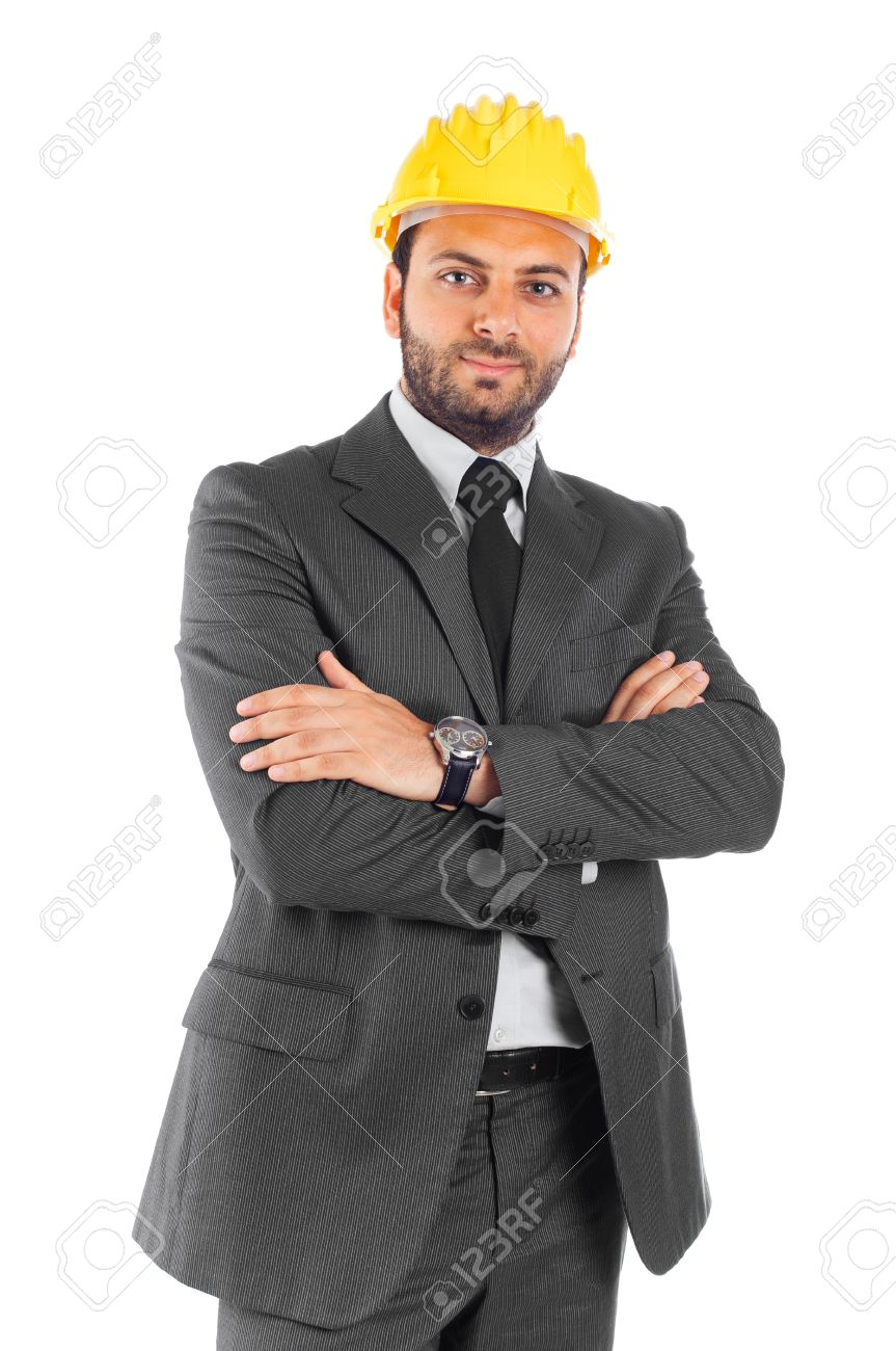 Handsome Civil Engineer On White Background Stock Photo   18290267  Civil Engineer