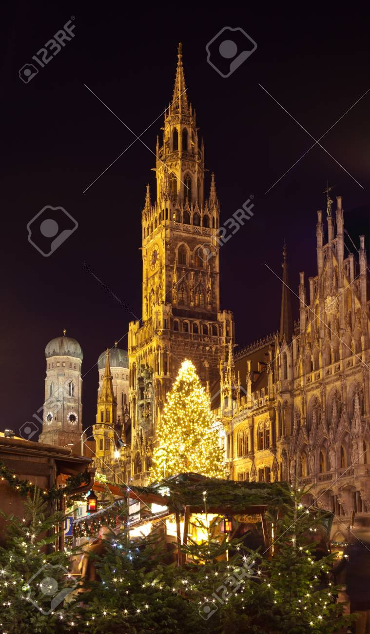 Christmas In Munich Germany.The Christmas Market On The Marienplatz In Munich Germany