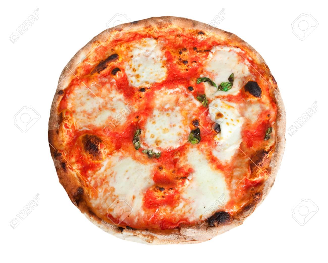 Pizza Margherita With Slices Of Mozzarella On White Background Stock Photo