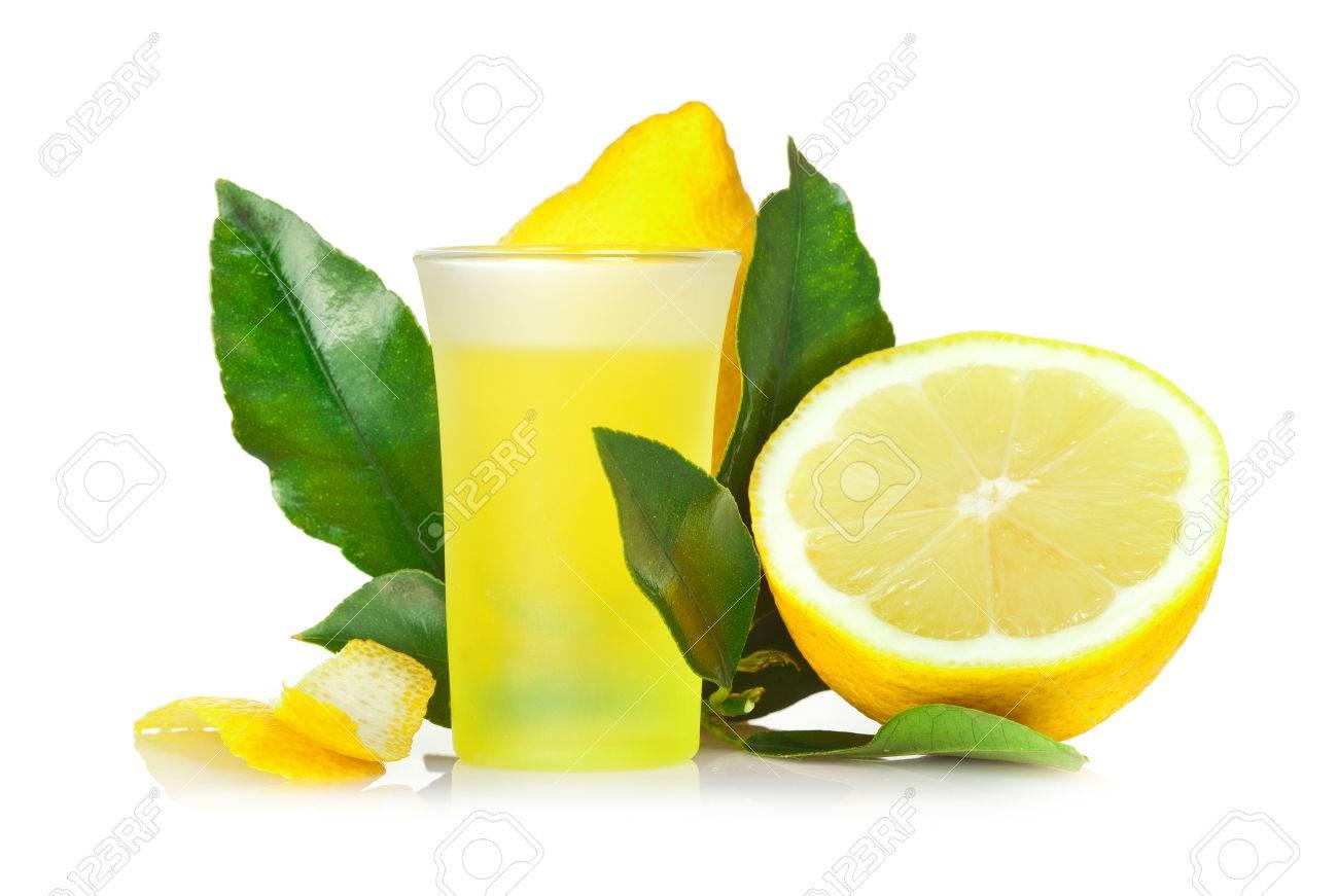 Limoncello, Italian liqueur lemon on white background. - 32316422