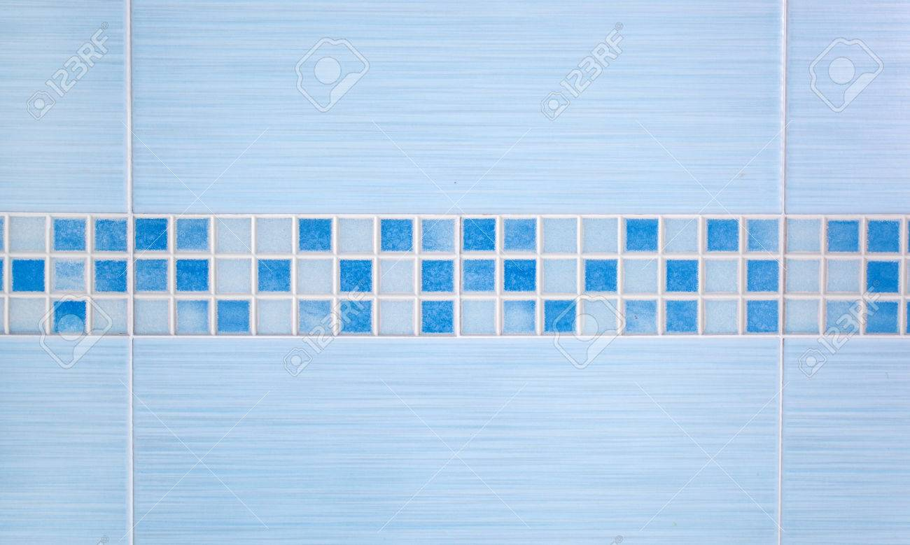 Blue Tiles With Row Mosaic Assembled On The Bathroom Wall Stock ...