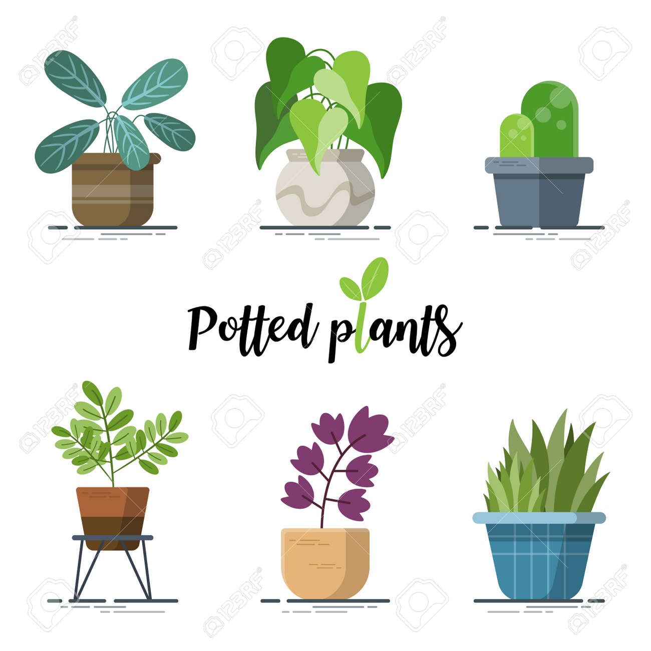 Collection of Colorful Potted plants for designers in the design of all kinds of works. easy to use and highly customizable. beautiful and modern element which can be used in many purposes - 169351039