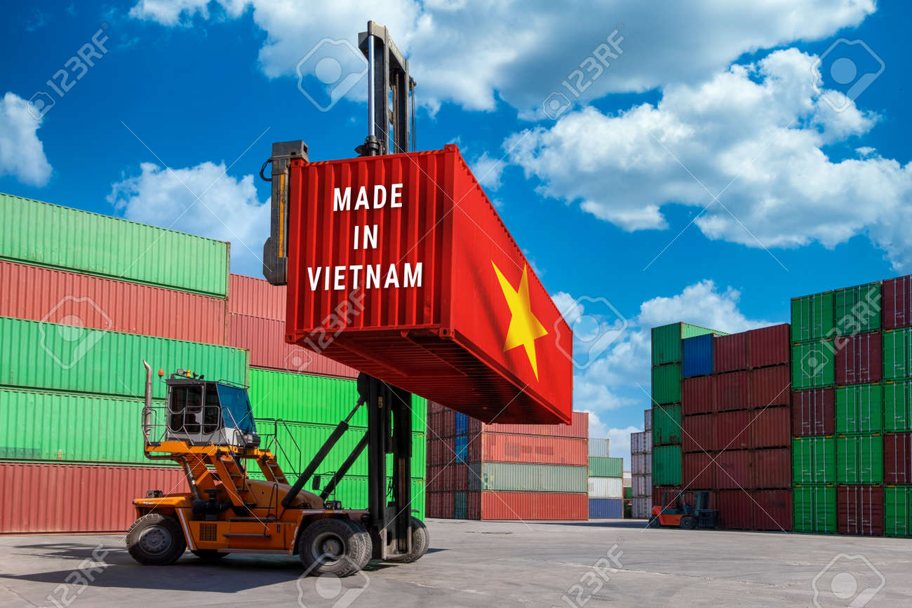 Trade war, Made in USA smart logistic concept. Shipping Cargo business Container import and export company for Logistics and Transportation. Factory move from USA. - 150847333