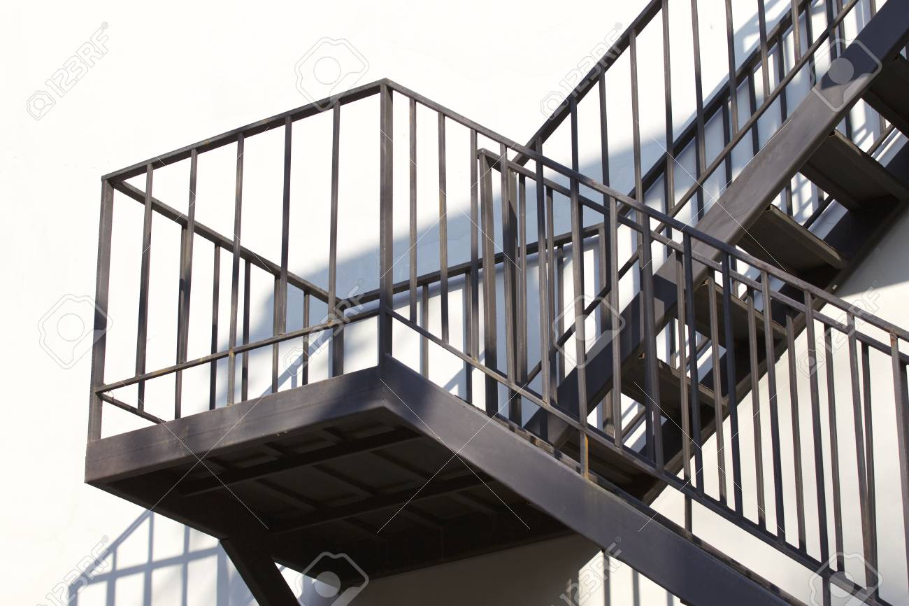 Metal Structure Of A Metal Staircase Outside A Multistory Building Stock  Photo   97549299