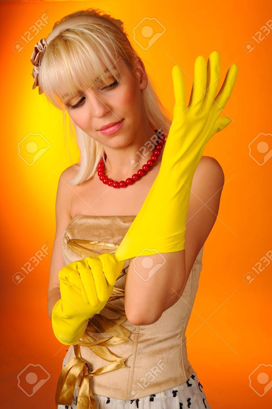 Portrait of blond housewife Stock Photo - 4698089