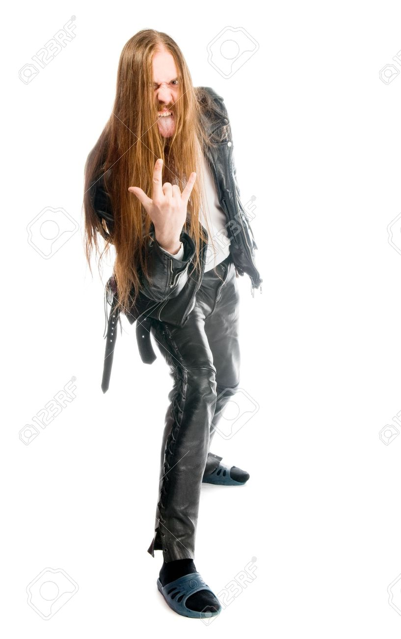 man gesturing symbol of heavy metal with home slippers Stock Photo - 5646209