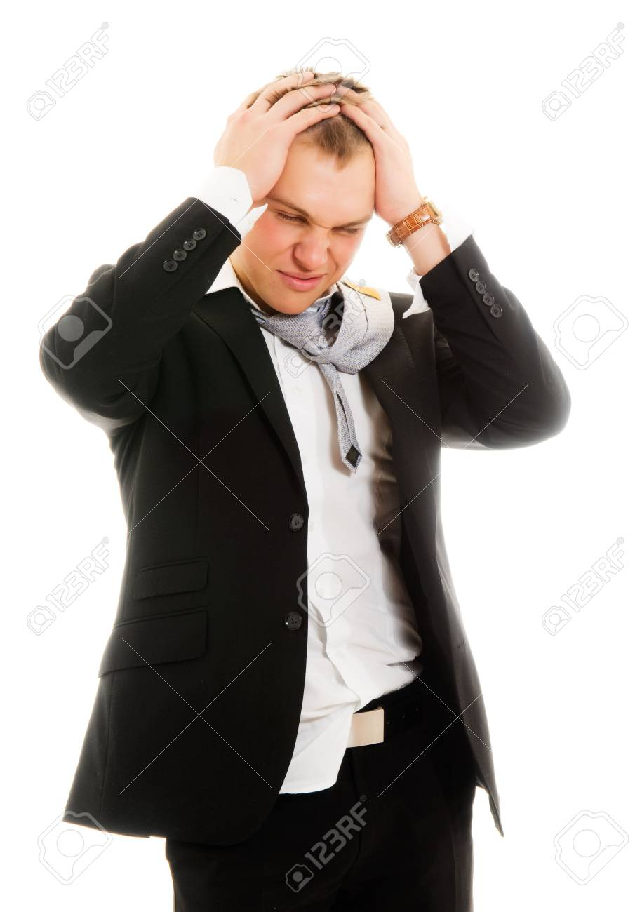 Young stressed businessman. Isolated over white. Stock Photo - 6678023
