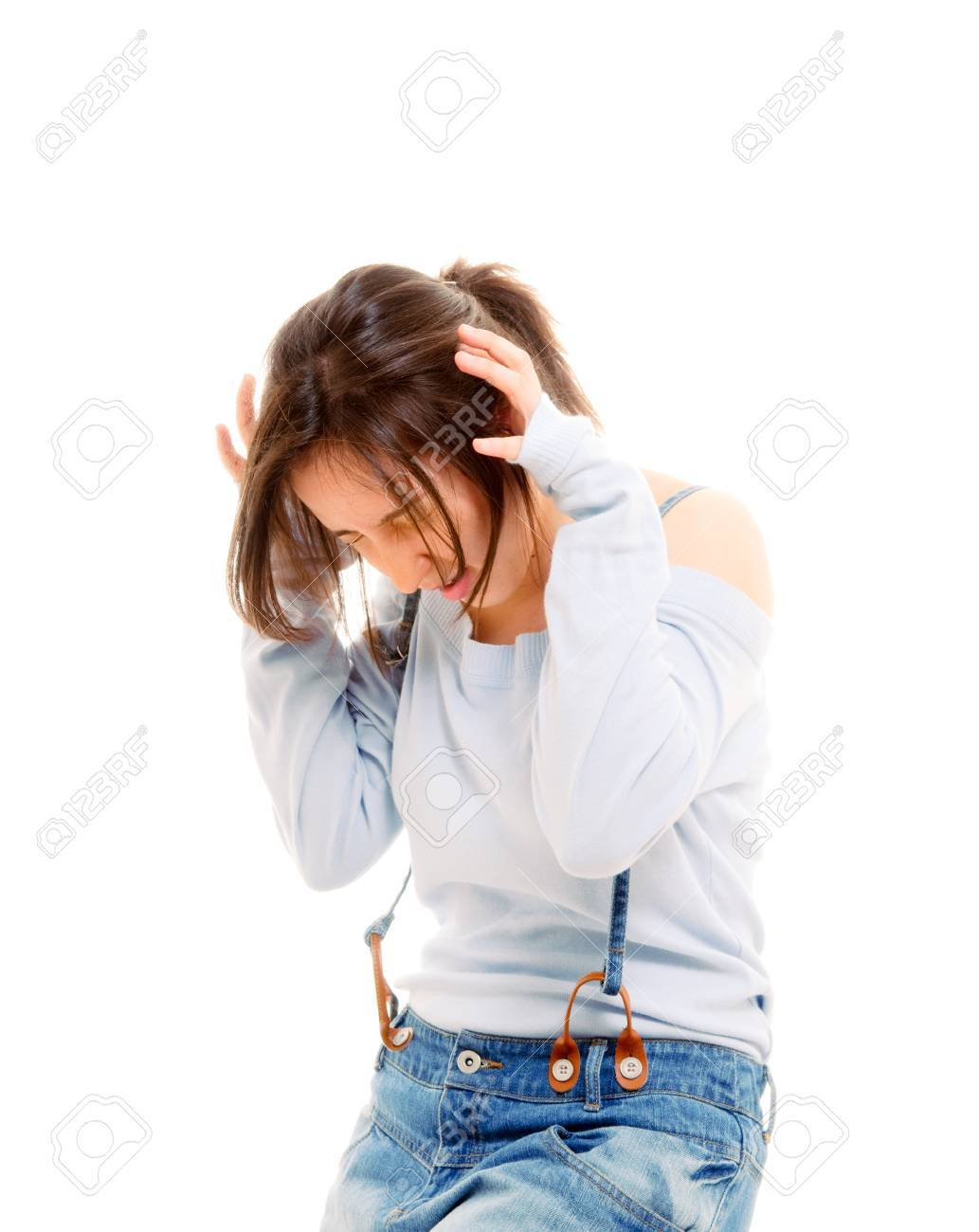 stressed woman isolated over white. Stock Photo - 7394486