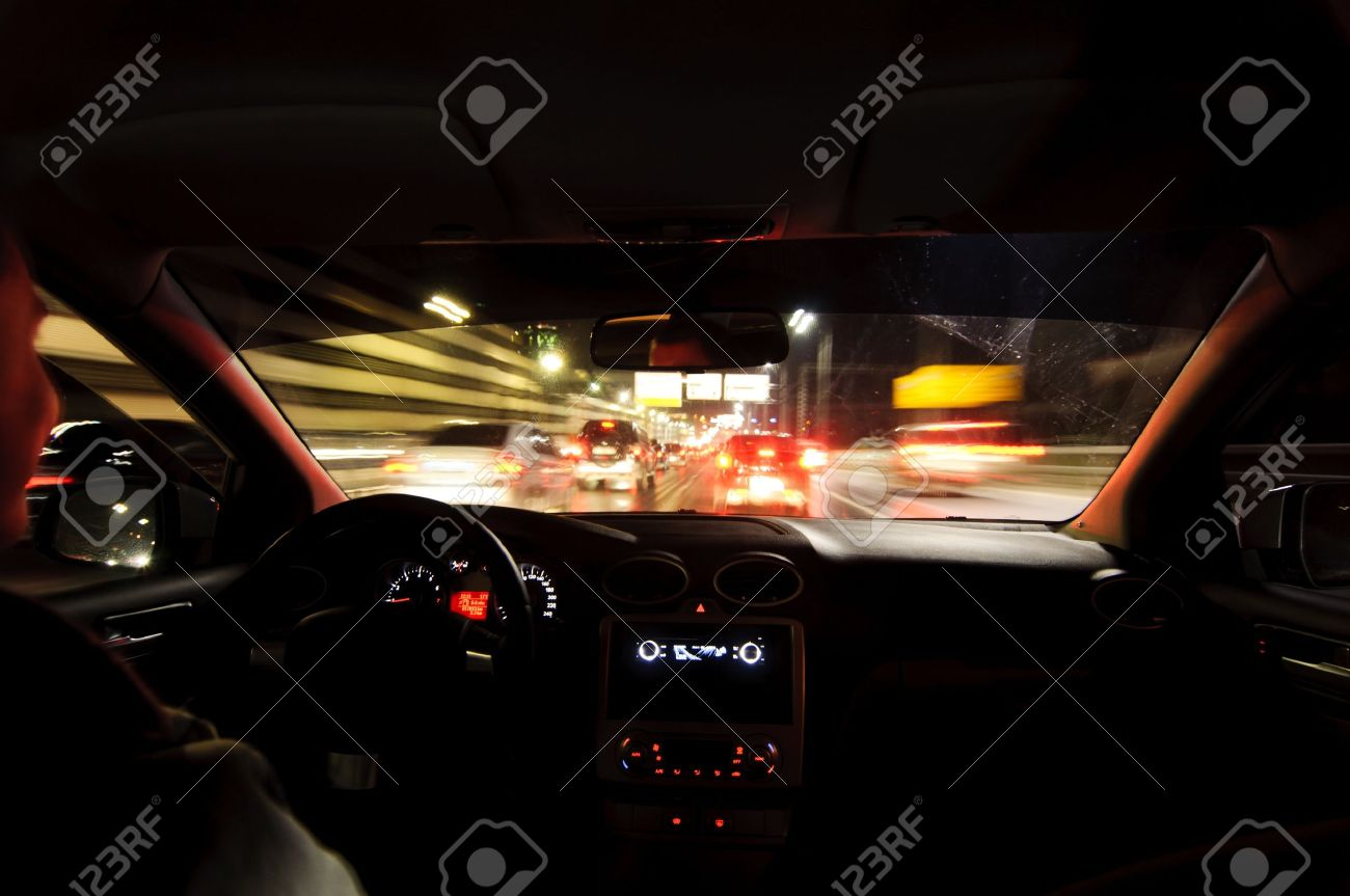 Night Road View From Inside Car Natural Light Street And Other