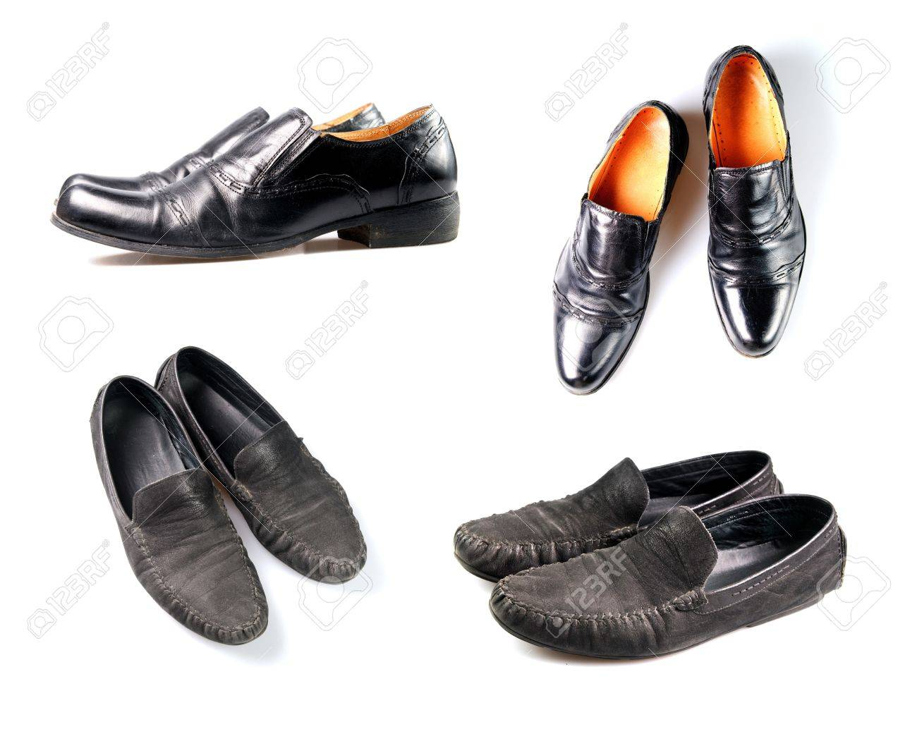 4 pair of used shoes over white background Stock Photo - 8395609