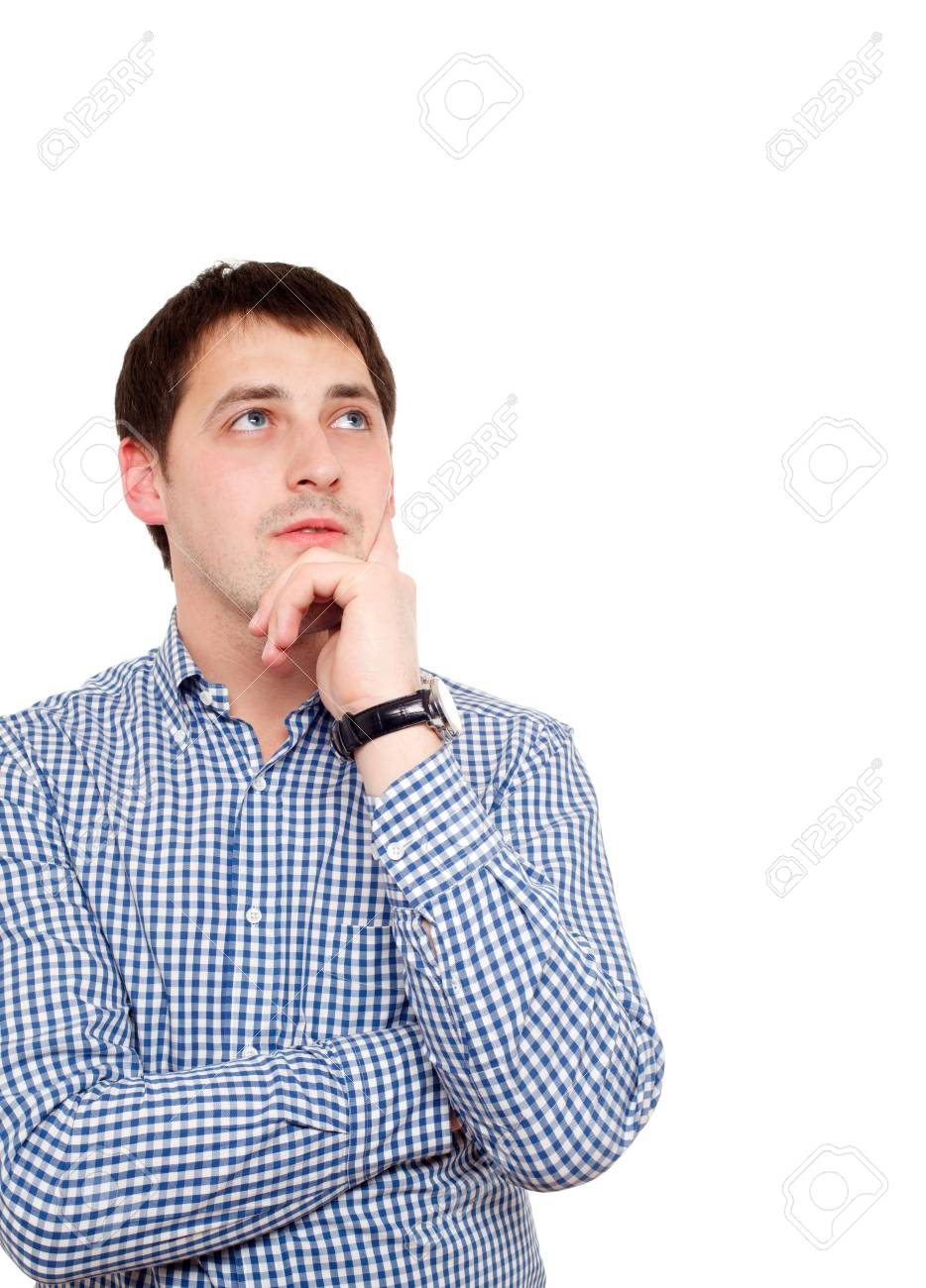 Young man in thoughtful pose. Isolated over white. Stock Photo - 8997673