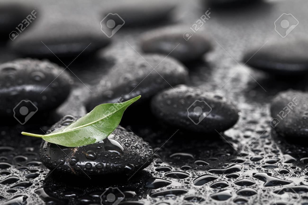 Massage stones with leaf Stock Photo - 9753600