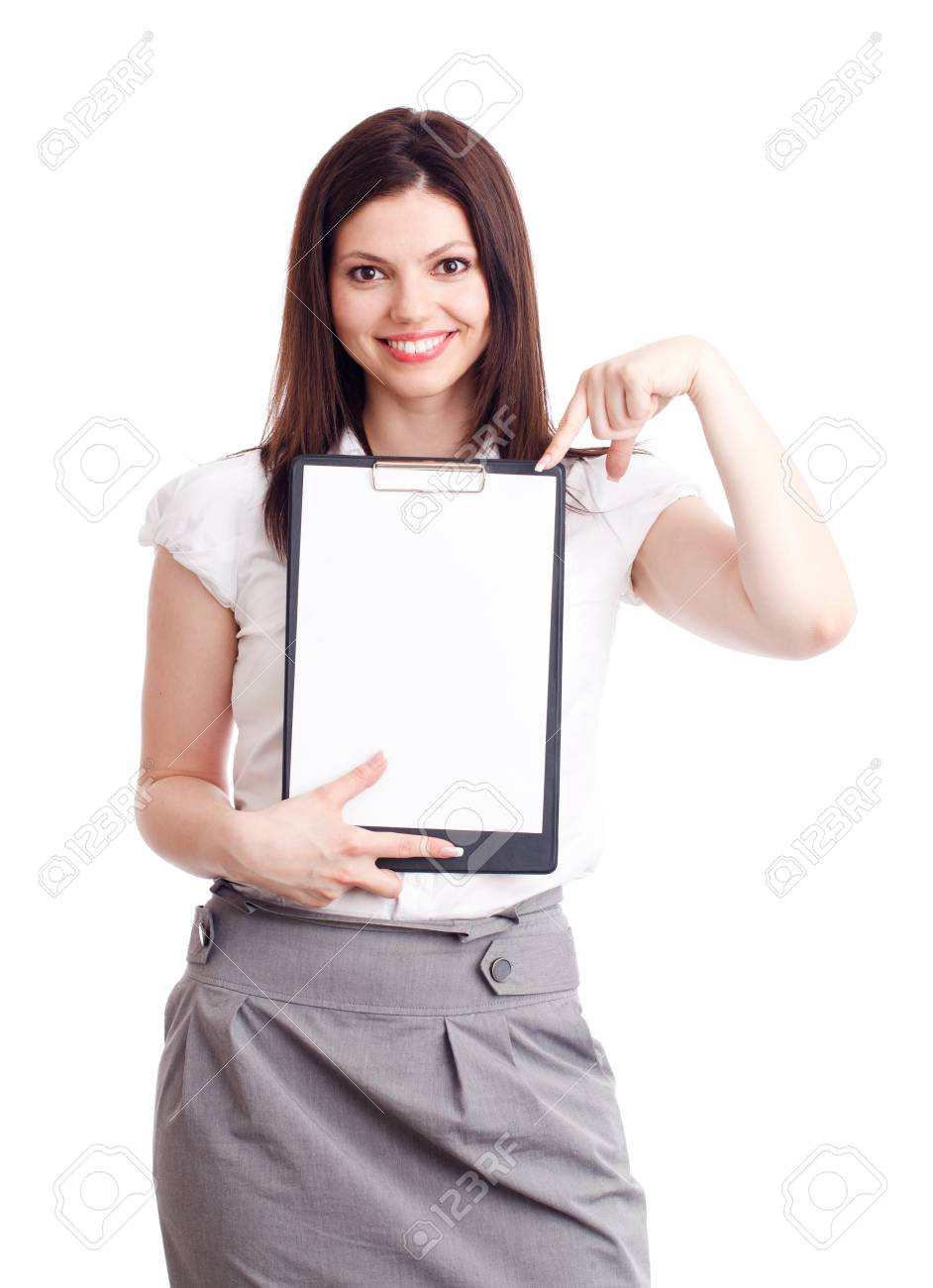 Young businesswoman showing contract. Isolated over white. Stock Photo - 9754301