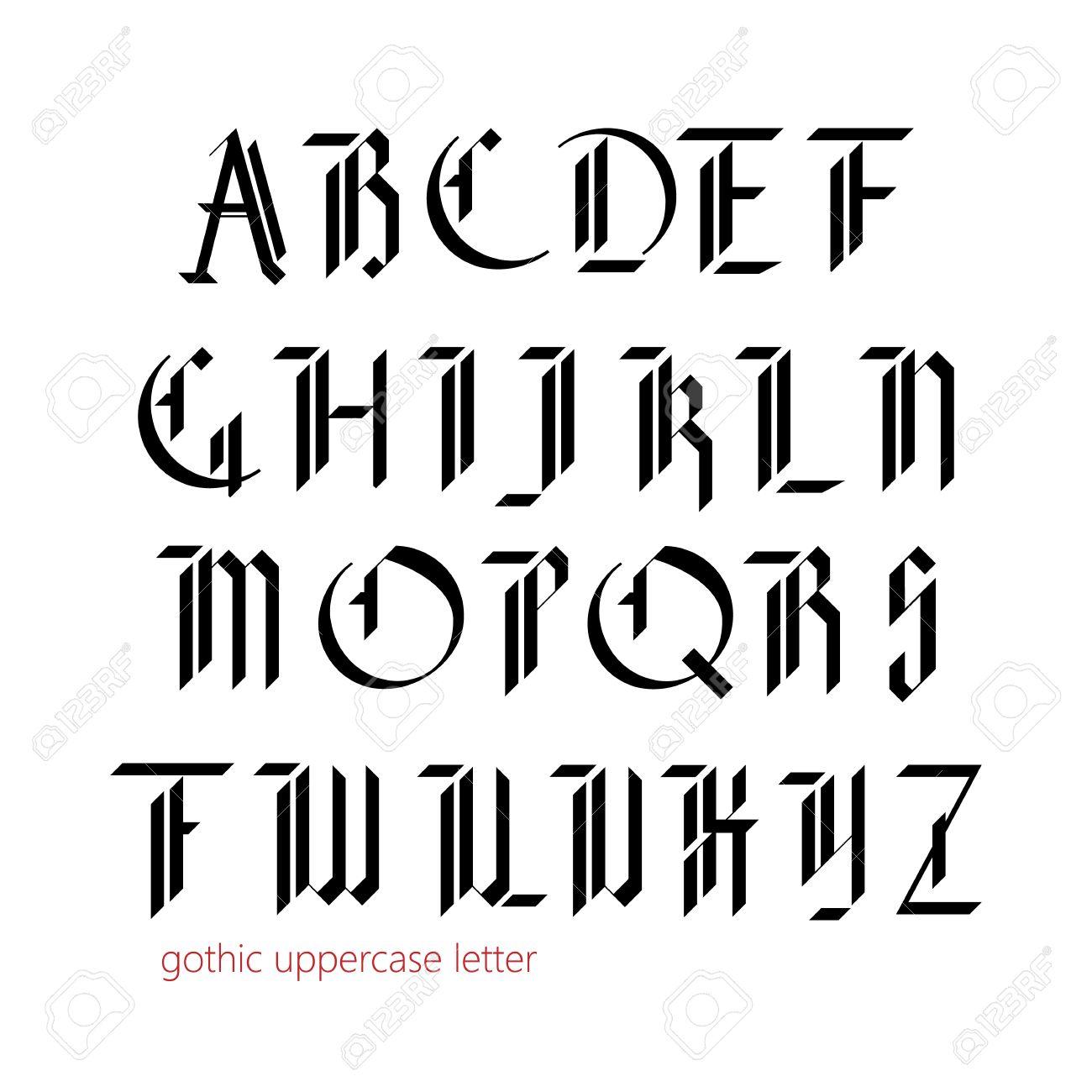 Blackletter Modern Gothic Font All Uppercase Letters Stock Vector