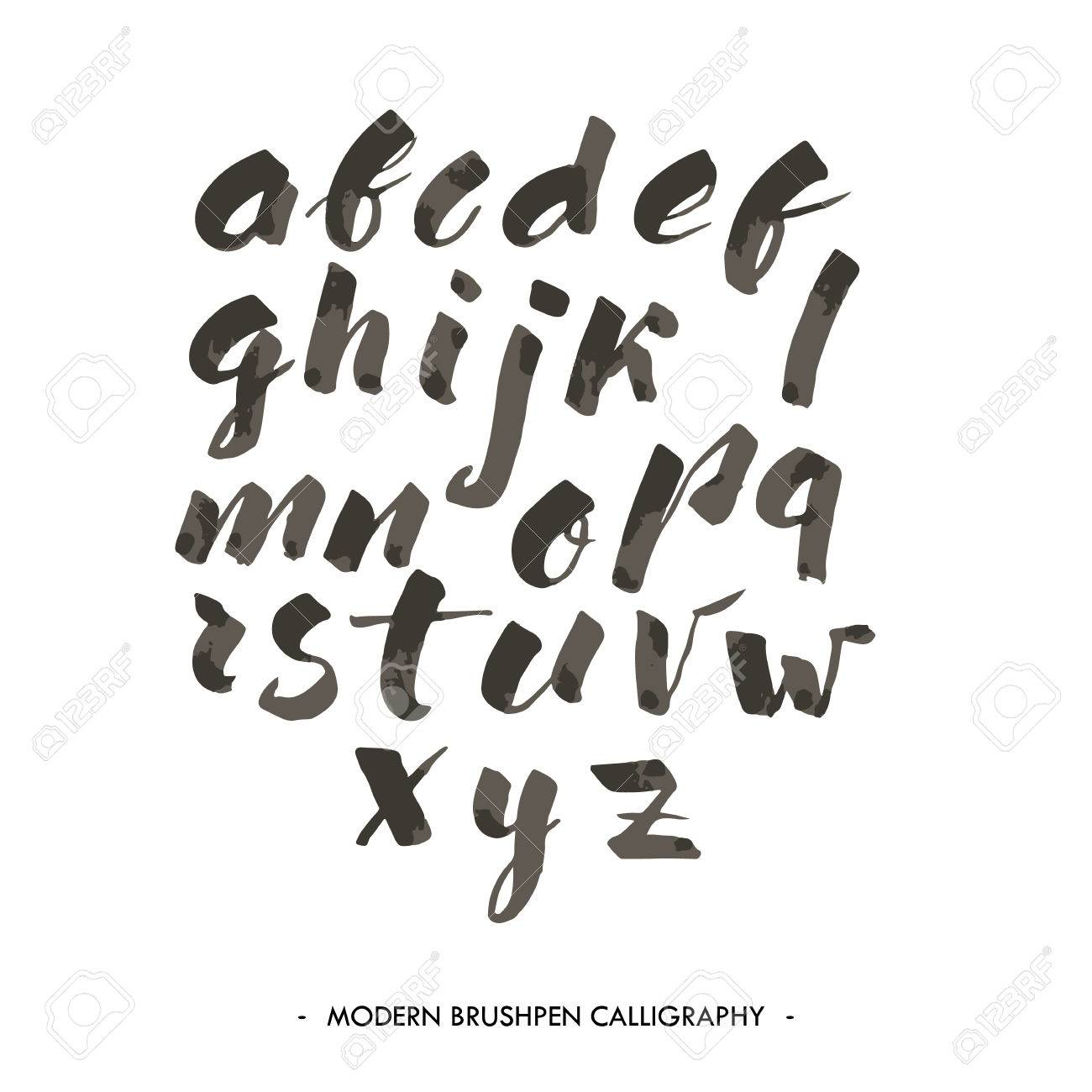 Modern Ink Alphabet Font ABC Painted Letters With Brush In Calligraphy Style Stock Vector