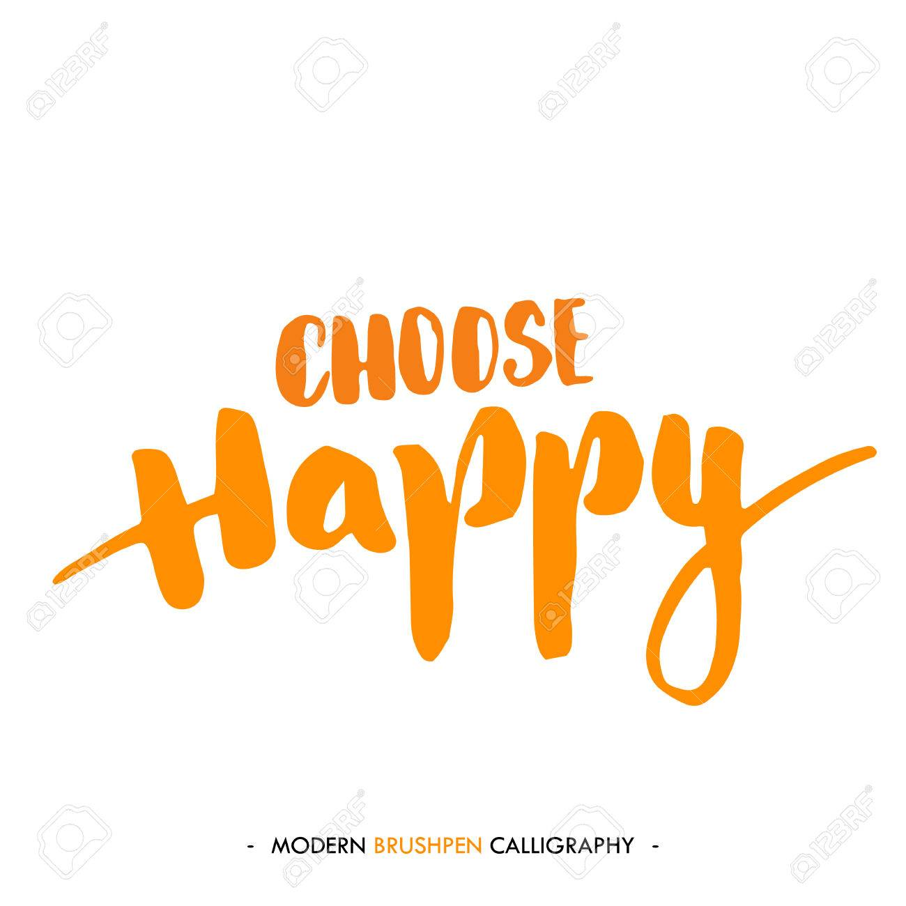 Choose Happy Color Inspirational Quote Isolated On White Background