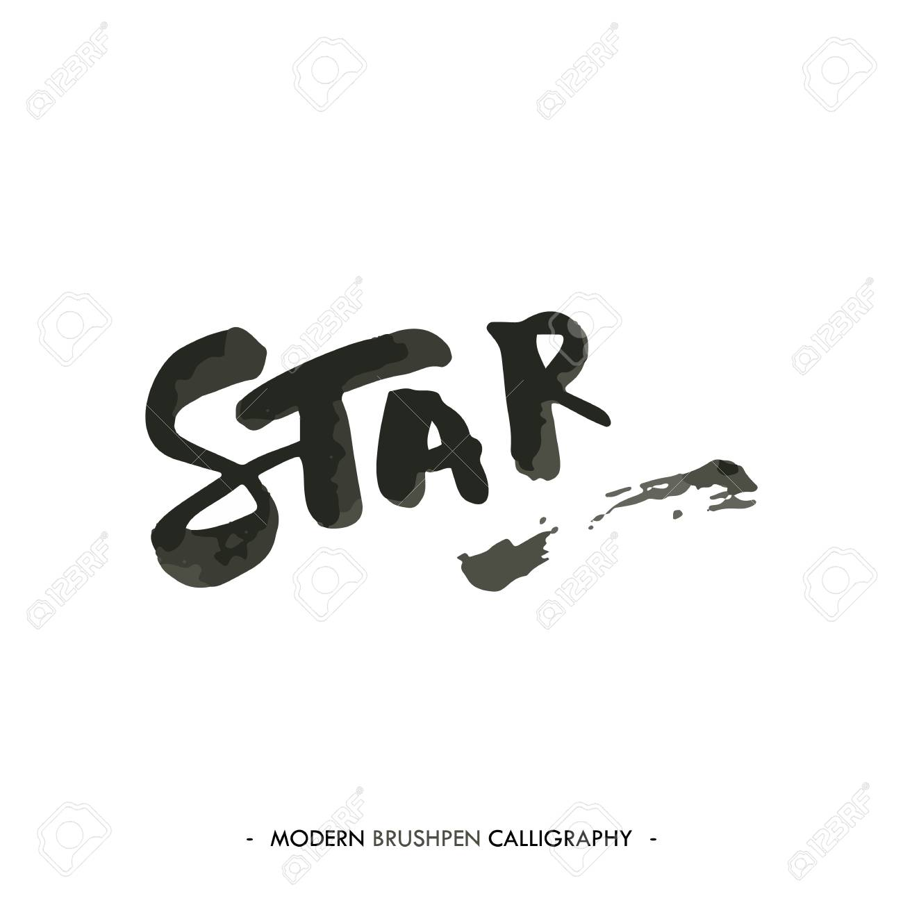 star word painted with brush in modern calligraphy style royalty