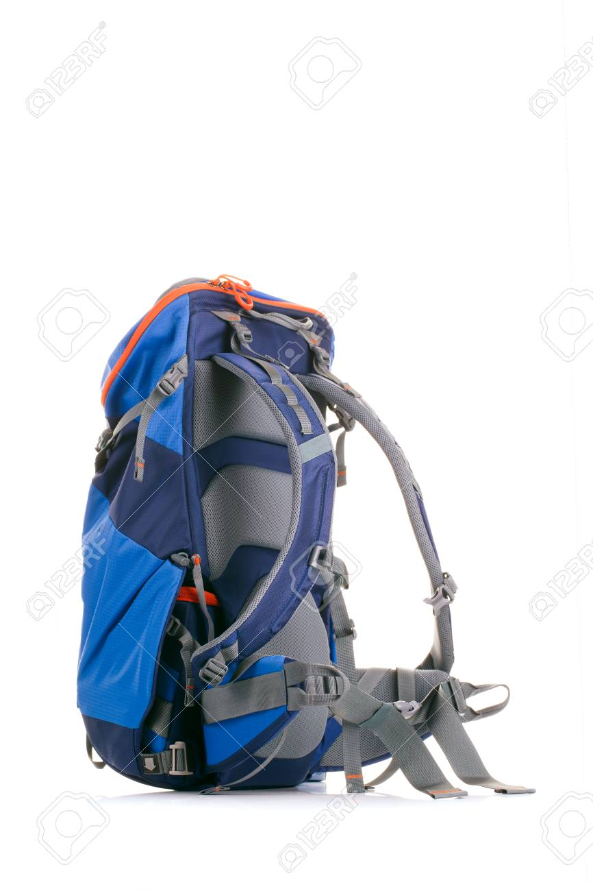 Image of tourist backpack on empty white background in studio Stock Photo -  86444954 9090f12d5d2b8