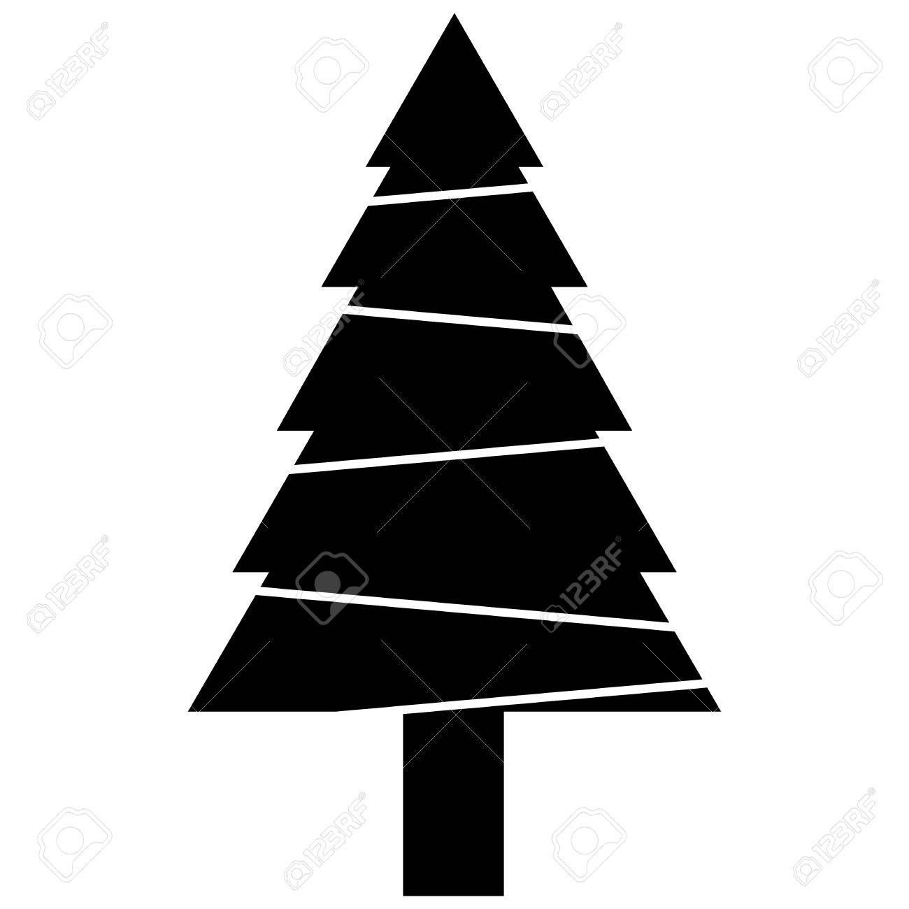 Christmas Tree Vector.Black Christmas Tree Vector