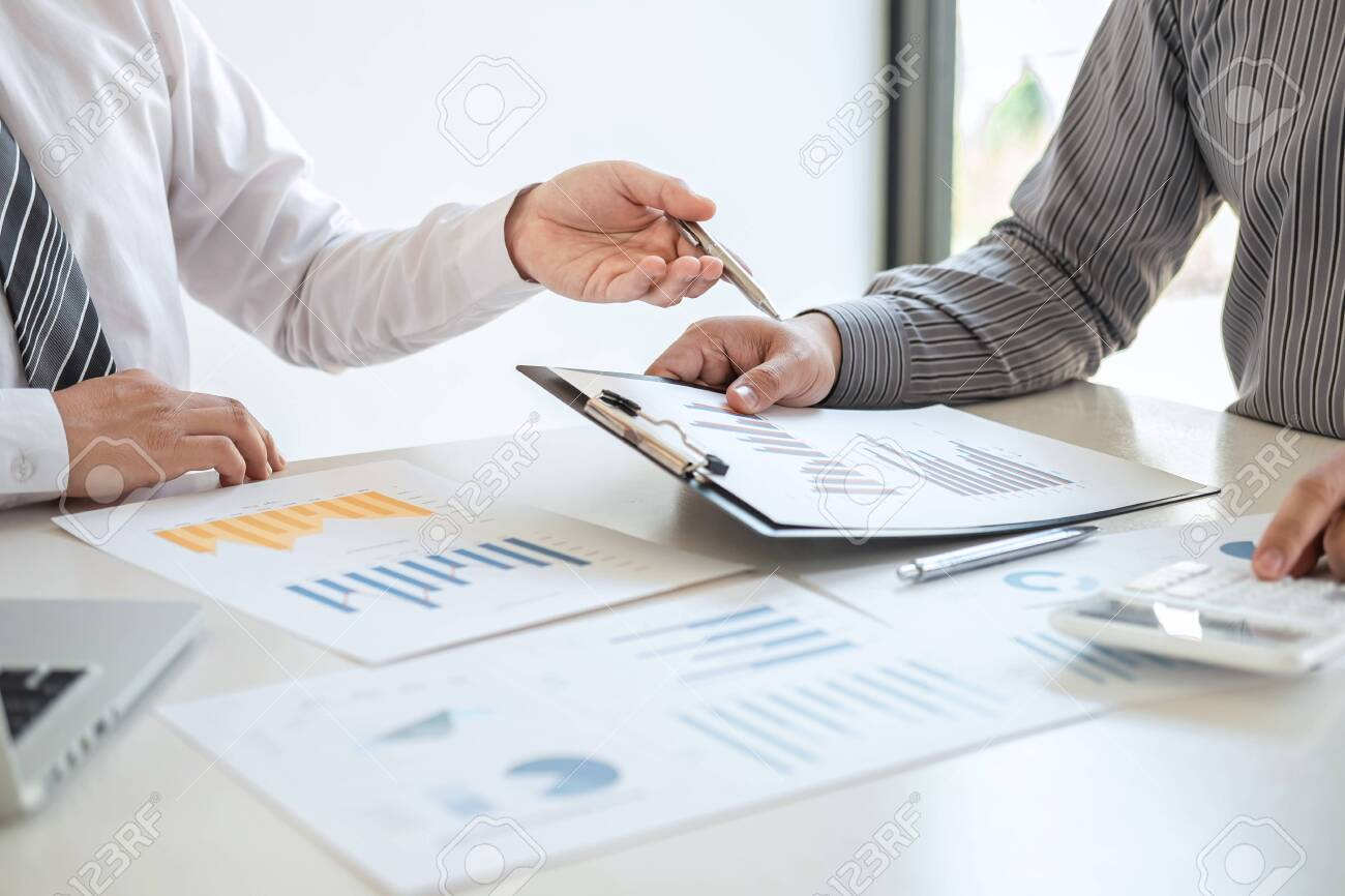 Business team partner on meeting brainstorming in investment ideas marketing planning project and presentation finance and strategy of business making to successful and development growth profit. - 142378477