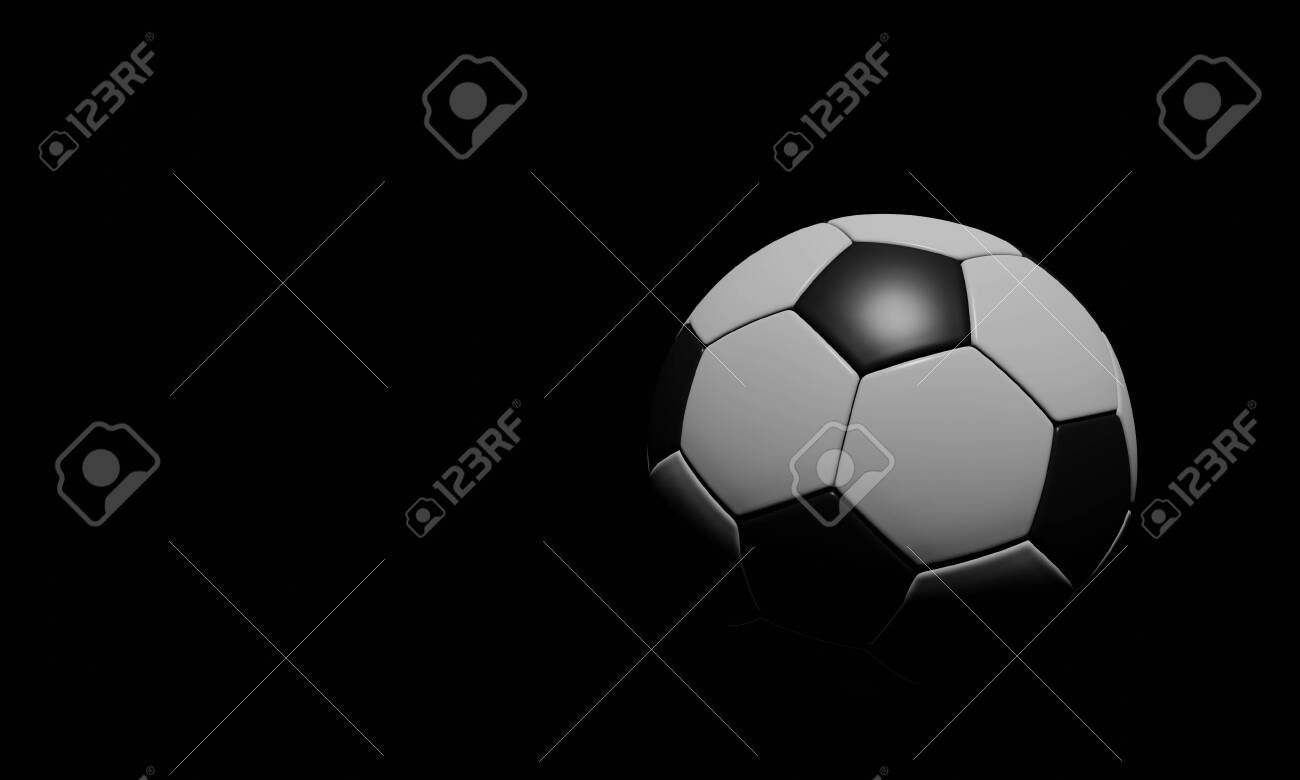 140723540 realistic soccer ball or football ball basic pattern on black background 3d style vector ball on bla
