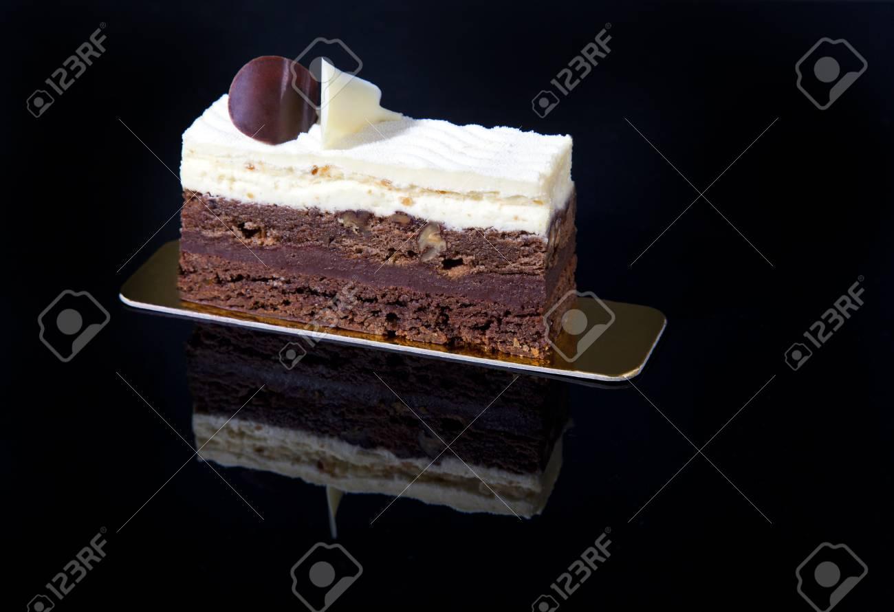 Luxury Beautiful Chocolate Ice Cream Cake On A Black Background
