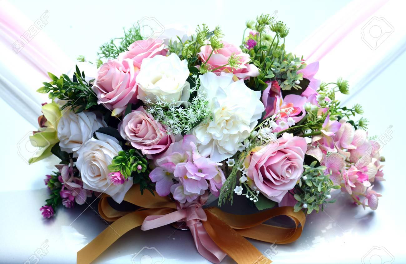 Rose Kunstliche Blumen Auf Der Motorhaube Auto Bouquet Trauung