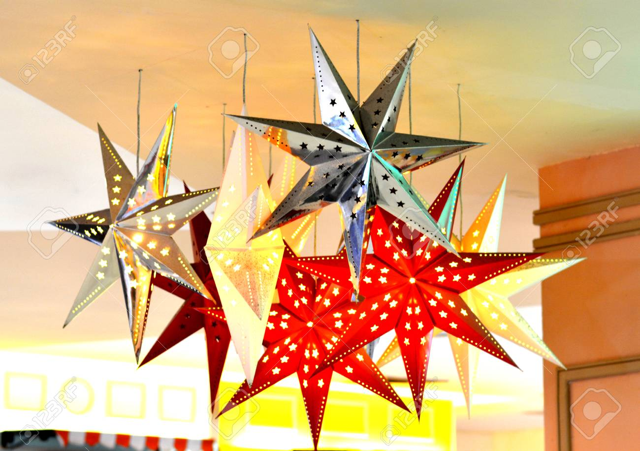 Star mobile lamp in the party at night