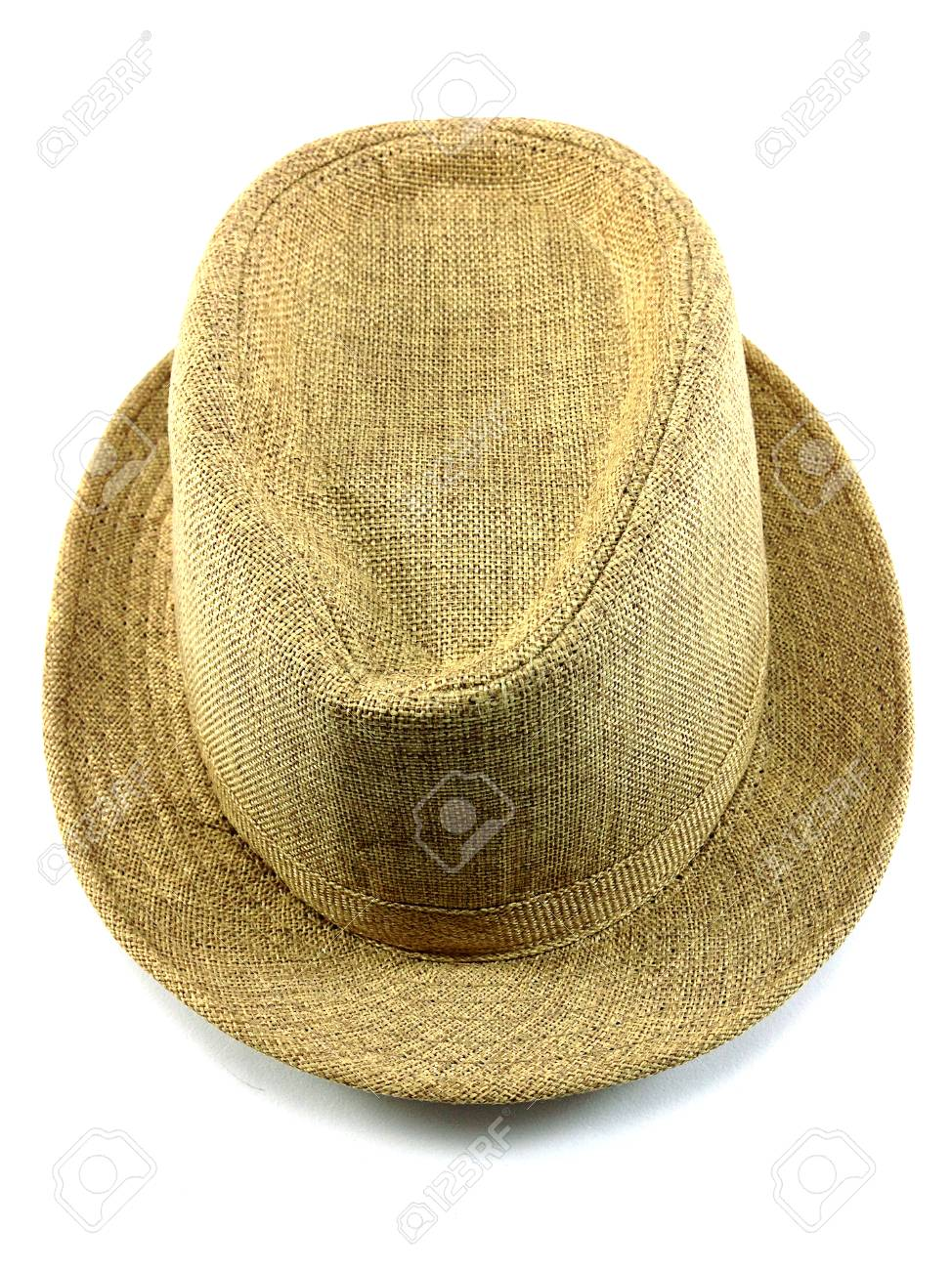 Summer Straw Hat Mens Straw Hat Isolated On White Background Stock